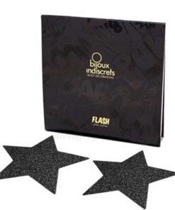 Flash Star Nipple Pasties Black Packaging | Bijoux