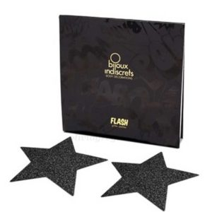 Flash Star Nipple Pasties Black Packaging | Bijoux
