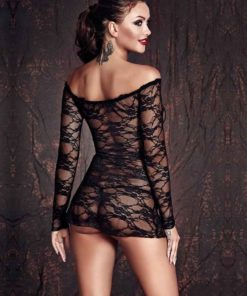 Lynette Sheer Black Lace Chemise Front
