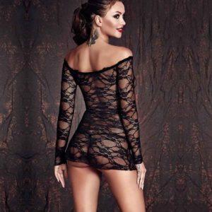 Lynette Sheer Black Lace Chemise Front