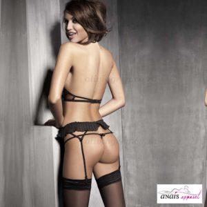 Pleasure Black & Turquoise Lingerie Set Back | Anais