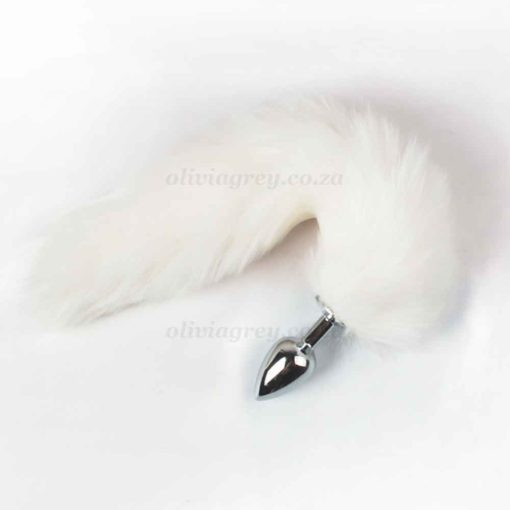 White Fury Fox Tail Butt Plug