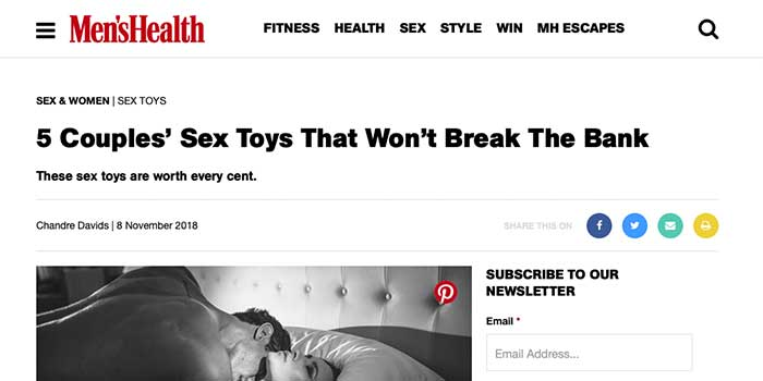 Olivia Grey Feature In Mens Health. 5 Couples' Sex Toys That Won't Break The Bank