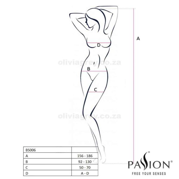 Ruby Bodystocking Size | Passion Lingerie BS006