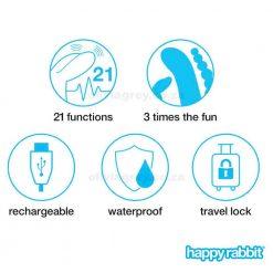 Triple Curve Rechargeable Rabbit Vibrator   Happy Rabbit Functions