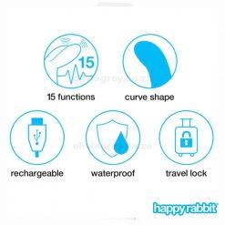 Slimline Curve Rechargeable Rabbit Vibrator Functions   Happy Rabbit