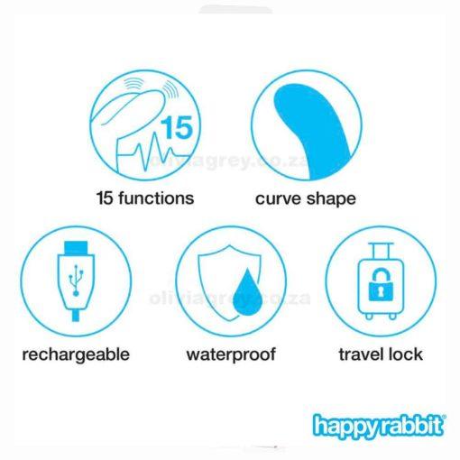 Slimline Curve Rechargeable Rabbit Vibrator Functions | Happy Rabbit